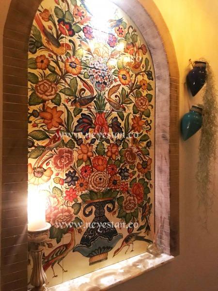 تابلو کاشی سنتی گل و مرغ